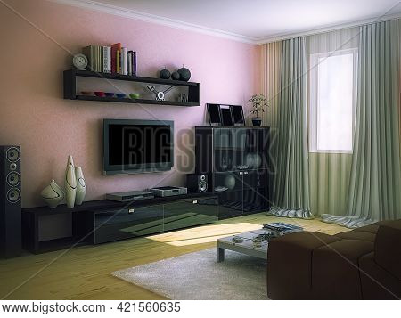 3d Render Of The Interior Design Of The Living Room In A Modern Style. Interior 3d Illustration With