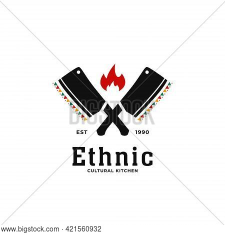 Ethnic Traditional African Cultural Soul Kitchen Logo Icon With Butcher Knife Crossed