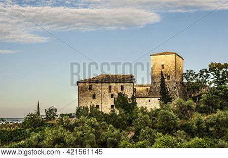 Panoramic View Of The Tuscan Hills With Medieval Houses Surrounded By Blooming Nature, Italy