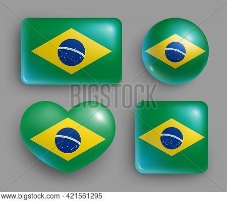 Set Of Glossy Buttons With Brasil Country Flag. South America Country National Flag, Shiny Geometric