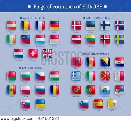 Set Of Europe Countries Flags Glossy Buttons Icons. European States National Flags, Square Shape Shi