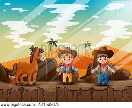 Cowboy And Cowgirl With A Horse In The Desert Illustration