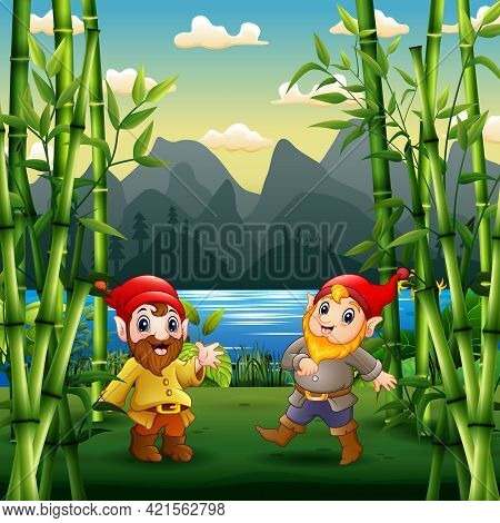 Two Cute Dwarves In A Garden Illustration