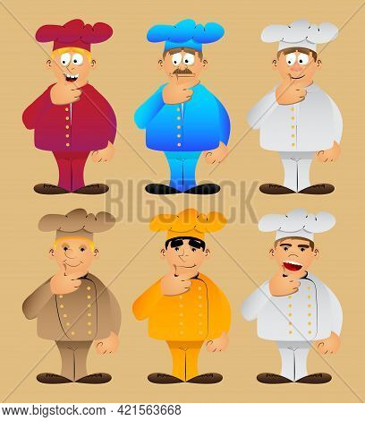 Fat Male Cartoon Chef In Uniform Thinking With Hands Under His Mouth. Vector Illustration. Cook, Bak