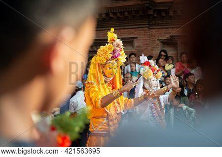 Kathmandu, Nepal : 16-october-2018 : Portrait Of Nepal Actor Showing Performance During Nepal Masked
