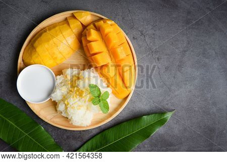 Ripe Mango Rice Cooked With Coconut Milk, Sticky Rice Summer Tropical Fruit Food Asian Thai Dessert