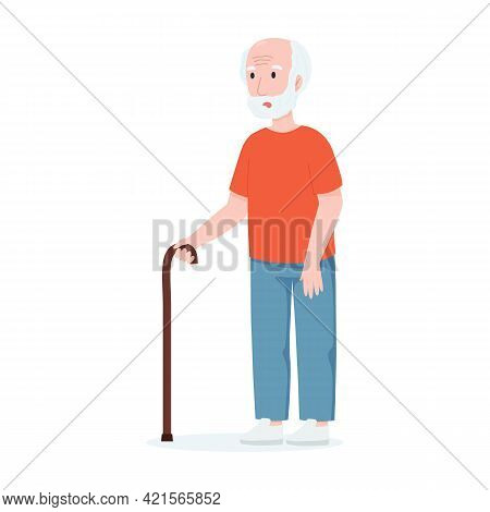 An Old Man With A Cane. Vector Illustration Old Man. Senile Dementia Concept.