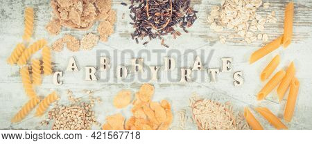 Vintage Photo, Inscription Carbohydrates And Natural Food Containing Dietary Fiber And Minerals, Con