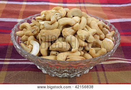 Whole Unsalted Cashews Dish Plaid Cloth