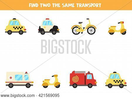 Find Two The Same Transportation Means. Educational Logical Game For Kids.