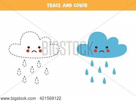 Trace And Color Cute Rain Cloud. Educational Game For Kids. Writing And Coloring Practice.