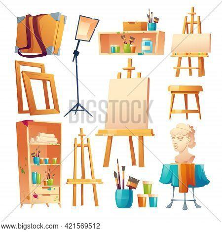 Artist Studio, Art Classroom Stuff Set. Canvas On Easel, Paint Brushes, Wooden Shelf And Stool, Plas