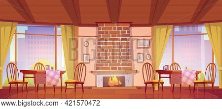 Cozy Cafe Or Restaurant With Fireplace And Windows With City View. Vector Cartoon Interior Of Cafete