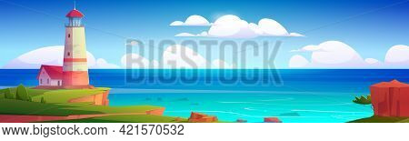 Lighthouse On Sea Coast. Summer Landscape Of Ocean Beach With Beacon And Building On Cliff. Vector C