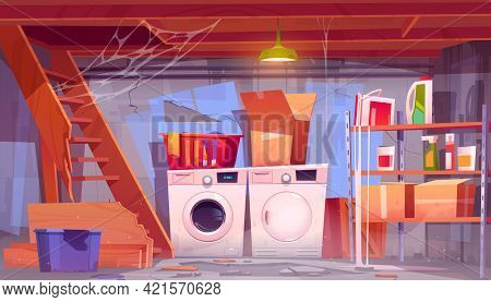 Storage Room With Laundry Equipment In House Basement. Vector Cartoon Interior Of Old Home Cellar Wi