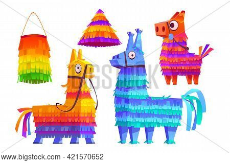 Mexican Pinatas Donkey And Llama, Colorful Toys With Treats For Child Birthday, Party Celebration, C
