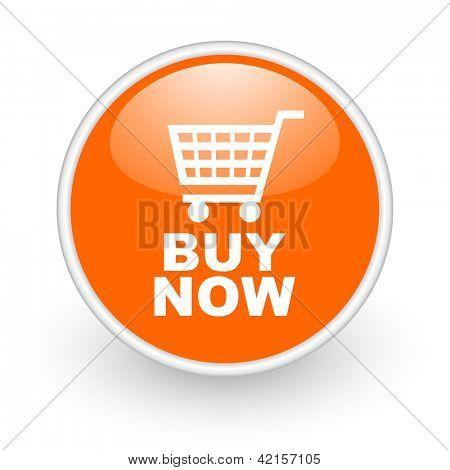 buy now orange circle glossy web icon on white background