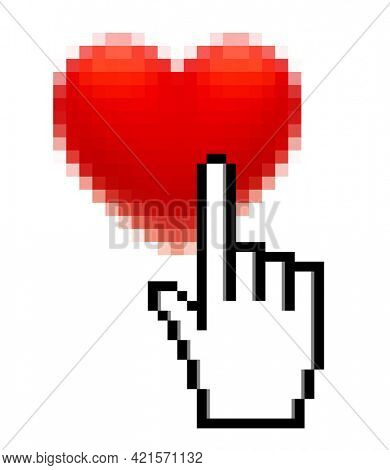 Pixel red heart and hand with forefinger isolated on white. Like computer icon and Valentine's Day symbol