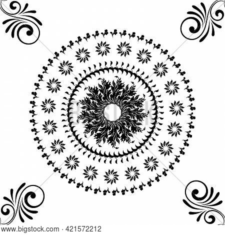 Seamless Ornamental Pattern Texture For Fabric On White Background
