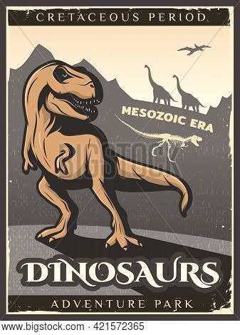 Vintage Dinosaur Poster With Gigantic Herbivore Carnivore And Flying Creatures Of Cretaceous Period