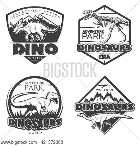Vintage Dinosaur Logos With Ancient Creatures Of Jurassic And Cretaceous Periods In Monochrome Style