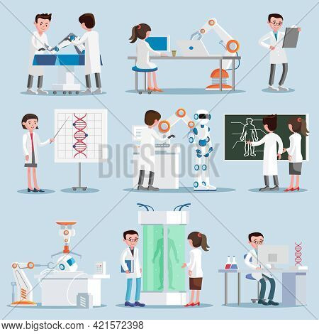 Artificial Intelligence Elements Set With Scientists And Inventions In Robotic Cybernetic Genetic En