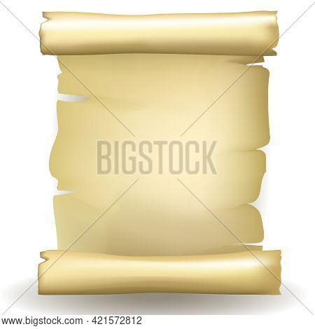 Ancient Vector Blank Aged Worn Paper Scroll With Yellowed Coloring And Ragged Torn Edges On A White