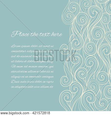 Vector Abstract Blue Sea Wave Background With Copyspace