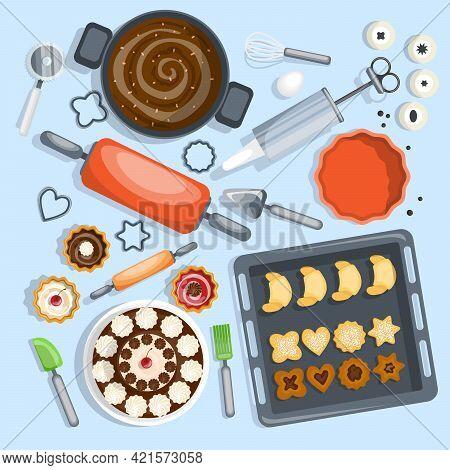 Bakery Top View Set. Confectionery Vector Illustration. Pastry Cartoon Symbols. Bakery Design Set.