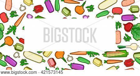 Garden Vegetables. Cartoon Flat Style. Seamless. Zucchini, Cucumber, Carrots, Peppers, Potatoes, Oni
