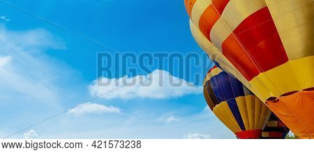Colorful Hot Air Balloon Flying At The Natural Park And Garden. Travel In Thailand And Outdoor Adven