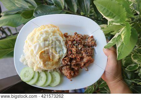 Fried Pork Or Stir Fried Pork With Sunny Side Up Egg And Rice For Serve