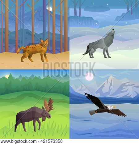 Polygonal 2x2 Background With Wild Animals And Birds In Their Habitat Set Isolated Vector Illustrati