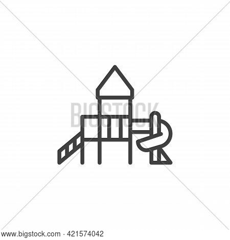 Kids Playground Line Icon. Linear Style Sign For Mobile Concept And Web Design. Playground With Slid