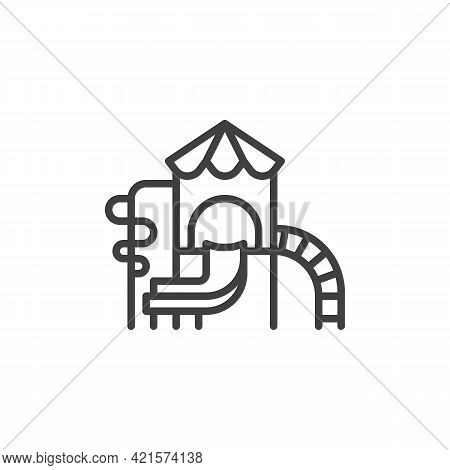 Playground With Slide Line Icon. Linear Style Sign For Mobile Concept And Web Design. Children Playg