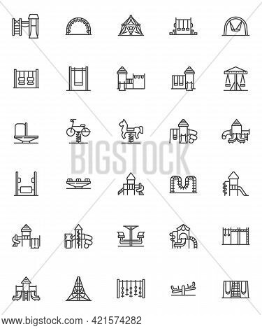 Playground Equipment Line Icons Set. Linear Style Symbols Collection, Outline Signs Pack. Children P