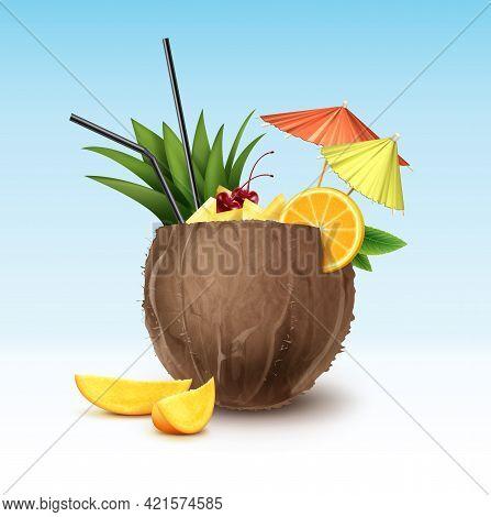 Vector Coconut Cocktail Garnished With Maraschino Cherry, Pineapple Wedges, Orange Slice, Black Stra