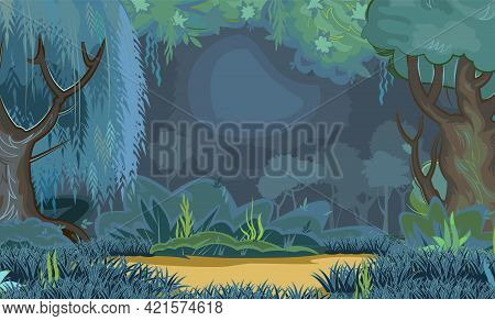 Bright Forest Glade In The Evening. Dark Trees At Night. Playground. Edge With Grass And Hills. Mead