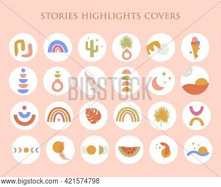 Bohemian Summer Set Of Abstract Story Highlight Cover In Bright Colors. Trendy Boho Hand Drawn Shape