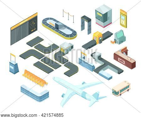 Airport Isometric Set With Transportation, Security System Equipment, Passport Control Booth, Timeta