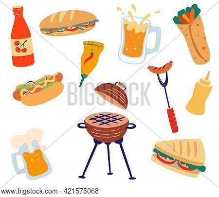 Set With Barbecue And Fast Food. Grilled, Sandwiches, Burgers, Sausages, Sauces, Hot Dog And Beer. C