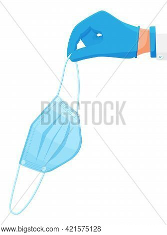 Disposable Medical Mask In Hand In Gloves. Cloth Respirator. Prevention Of Virus, Allergy, Air Pollu