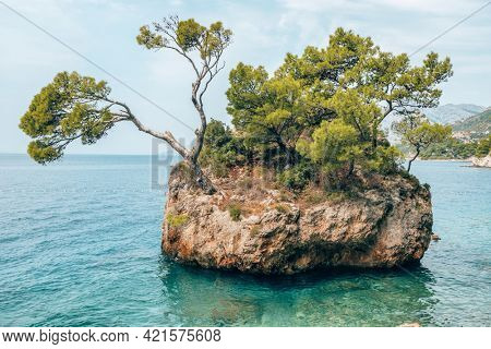 The famous Rock of Brela in Adriatic Sea at the Makarska Riviera, Dalmatia, Croatia.