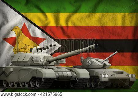 Tanks On The Zimbabwe Flag Background. Zimbabwe Tank Forces Concept. 3d Illustration