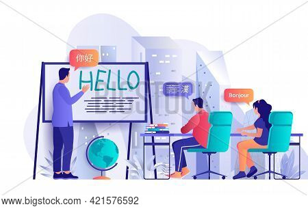 Language Courses Concept In Flat Design. Students Learn Foreign Languages Scene Template. Man And Wo