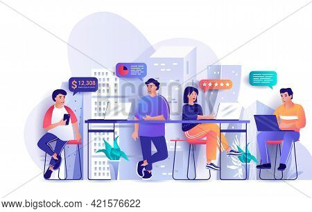 Open Space Office Concept In Flat Design. Colleagues Work In Coworking Space Scene Template. Teamwor
