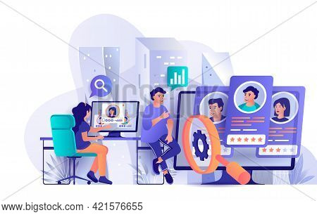 Hr Process Concept In Flat Design. Search For Open Vacancy Candidate Scene Template. Recruiting Mana