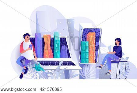 Futuristic Megapolis Concept In Flat Design. Smart City In Smartphone Scene Template. Skyscrapers, M