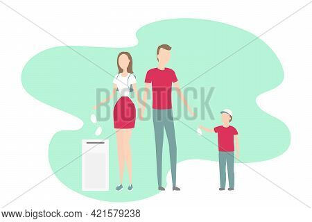 Family Take Off And Throw Out Medical Masks. Vector Illustration.