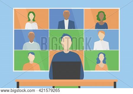 Group Video Conference On Wall Screen. Distant Work. Vector Illustration.